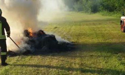 Misterioso incendio di rotoballe in un campo: indagano i carabinieri