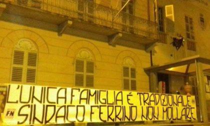 A Favria striscione di Forza Nuova pro Ferrino