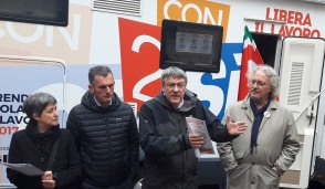 Il segretario della Fiom-Cgil Maurizio Landini a Cuorgnè