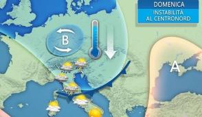 Domenica possibili piogge e temperature in forte calo