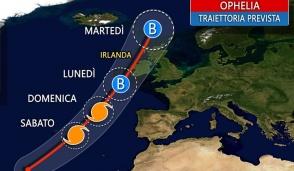 Uragano Ophelia porta aria calda sul Vecchio Continente