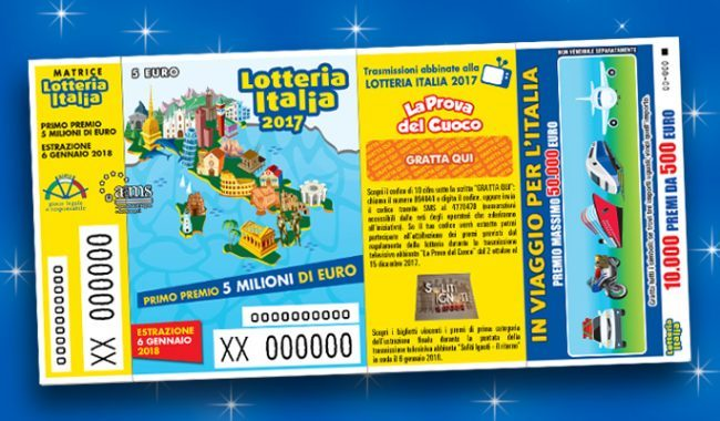 Lotteria Italia, 6 gennaio 2018 vinti 5 milioni ad Anagni