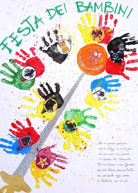 Carnevale Ivrea Manifesto realizzato dai bambinidella scuola d'infanzia