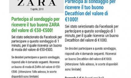 Truffa buoni Decathlon e Zara, l'allarme dello sportello dei diritti