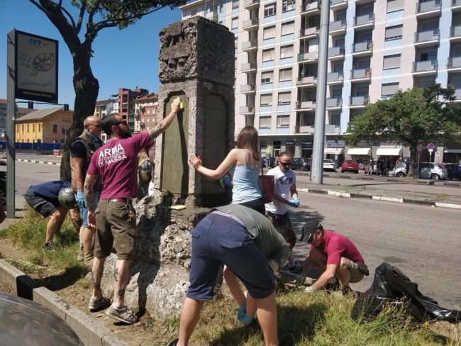 CasaPound riqualifica monumenti in onore della vittoria nella Prima Guerra Mondiale