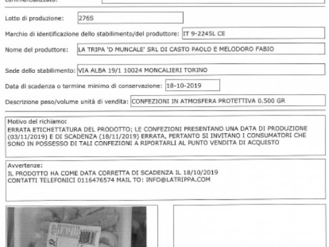 Trippa precotta prodotta a Moncalieri ritirata: data di scadenza errata
