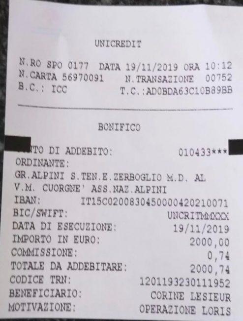 Gli Alpini Cuorgnè raccolgono 2mila euro per Loris