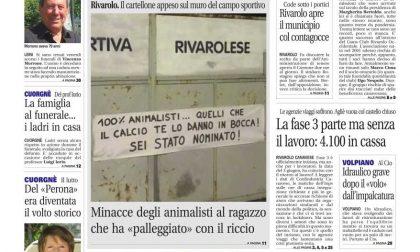 Il Canavese – edizione Rivarolo (del 10 giugno) in edicola. Ecco la prima pagina
