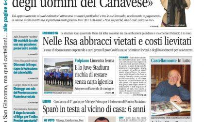 Il Canavese – edizione Rivarolo (del 29 luglio) in edicola. Ecco la prima pagina