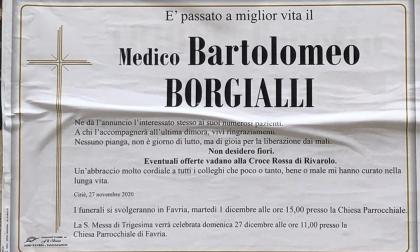 Addio al dottor Bartolomeo Borgialli, sui manifesti ha scritto: «Nessuno pianga, non è giorno di lutto»