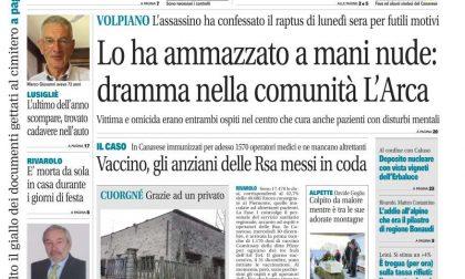 Il Canavese – edizione Rivarolo (del 06 gennaio) in edicola. Ecco la prima pagina