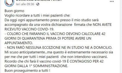 """Naturopata novarese shock """"Non ricevo chi fa il vaccino: siete contagiosi"""""""