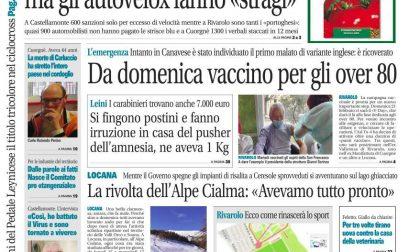 Il Canavese – edizione Rivarolo (del 17 febbraio) in edicola. Ecco la prima pagina