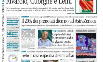 Il Canavese – edizione Rivarolo (del 24 marzo) in edicola. Ecco la prima pagina