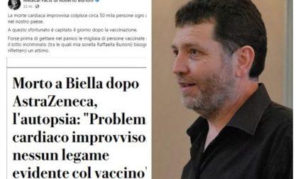 """Il post di Burioni sul caso Biella-AstraZeneca: """"Morto per infarto, riflettere prima di creare il panico"""""""
