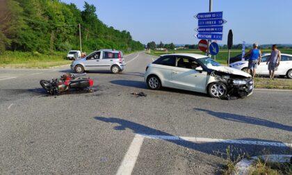 Auto contro moto all'incrocio del Grivellino, ferito centauro