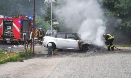 Auto prende fuoco durante la marcia sulla SP460