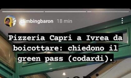 """Pizzeria di Ivrea chiede il Green Pass, il cliente no-pass: """"Da boicottare. Codardi"""""""