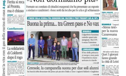 Il Canavese – edizione Rivarolo (del 15 settembre) in edicola. Ecco la prima pagina