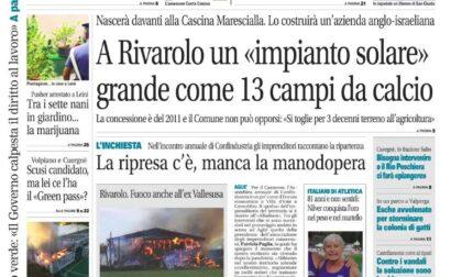 Il Canavese – edizione Rivarolo (del 22 settembre) in edicola. Ecco la prima pagina