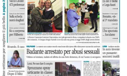 Il Canavese – edizione Rivarolo (del 06 ottobre) in edicola. Ecco la prima pagina