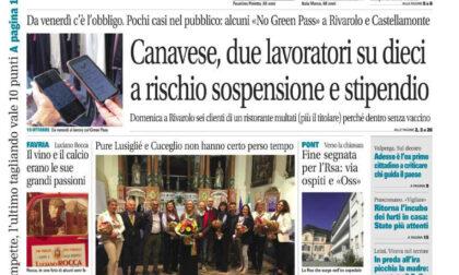 Il Canavese – edizione Rivarolo (del 13 ottobre) in edicola. Ecco la prima pagina
